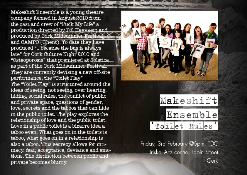 Makeshift Ensemble's Poster for their upcoming session in the Theatre Development Centre